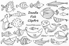 Doodle Fish Clipart set includes: - 22 PNG files with transparent backgrounds - 1 EPS, AI (vector) - file all together Each file is in high quality Fish Drawings, Doodle Drawings, Cartoon Drawings, Cartoon Illustrations, Vintage Clip Art, Fish Vector, Vector Hand, Vector File, Drawn Fish