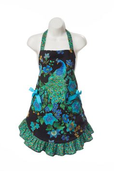 Women's Peacock Apron by PinkButterflyAprons on Etsy, $48.50