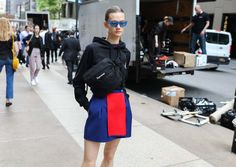 Daniela Kocianova in a Kenzo skirt and Céline sunglasses