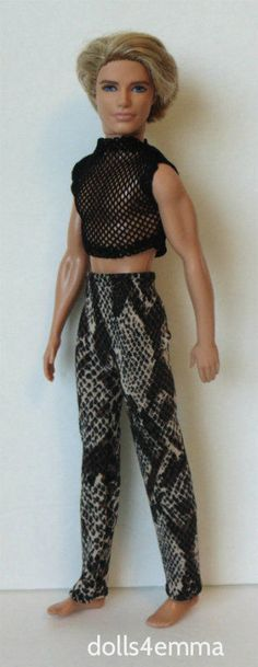 KEN DOLL CLOTHES Sexy Fishnet Top Reptile Pants Handmade Fashion NO DOLL d4e | eBay