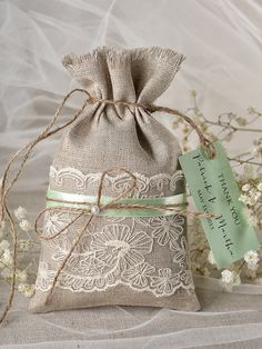 Rustic Mint Wedding Favor Bag Lace Wedding Favor by 4LOVEPolkaDots, $1.60