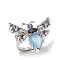"""A romantic reminder to always look for the beauty. // Chalcedony and Gemstone Sterling Silver """"Butterfly"""" Ring"""