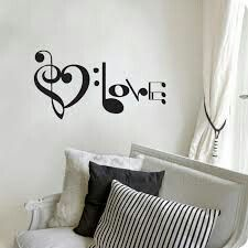 "Aplique para pared "" musica love"""