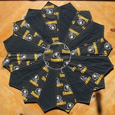 Pittsburgh STEELERS Football Tabletopper / Quilted Centerpiece by CraftsJustForYou1 on Etsy
