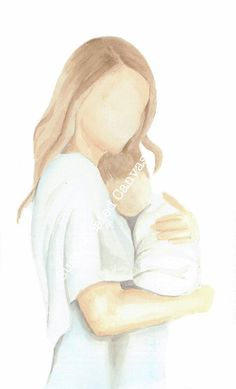 Mother and child watercolor print mom and baby new mom new baby loss of child nursery decor Mother And Baby Paintings, Mother And Child Drawing, Mom Drawing, Mother Painting, Mother Art, Drawing For Kids, Arte Lds, Pregnancy Art, Baby Illustration