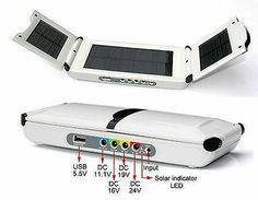 2 Stück   Solar Power-Station 12000 mA/h für Laptop, Handy, iPhone, Digicam, GPS