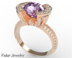 Rose Gold Oval Purple Amethyst Engagement Ring