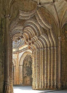 The Monastery of Batalha is a Dominican convent in Batalha, Leiria, Portugal. It is one of the best and original examples of Late Gothic architecture in Portugal, intermingled with the Manueline style., via Albino Rigoni Architecture Antique, Beautiful Architecture, Beautiful Buildings, Art And Architecture, Beautiful Places, Cultural Architecture, Cathedral Architecture, Architecture Sketchbook, Architecture Graphics