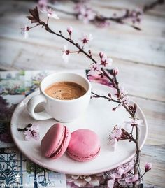 Discovered by Find images and videos about coffee and macarons on We Heart It - the app to get lost in what you love. But First Coffee, I Love Coffee, My Coffee, Good Morning Coffee, Coffee Break, Coffee Cafe, Coffee Drinks, Coffee Flower, Coffee Photography