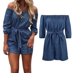 2a225eecec6 Plus Size Womens Off Shoulder Mini Playsuit Ladies Summer Shorts Jumpsuit ·  Summer ShortsCute Summer OutfitsDenim ShortsOverallsShort ...