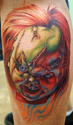 Chucky portrait tattoo by Cecil Porter