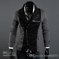 Best ADS@-005 HOT! Fashion Slim Men's Jacket Lapel With Irregular Zipper Dark Grey+Black Jackets For Men Online with $35.8/Piece | DHgate