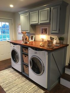 Vintage Stuff Modern Basement Remodel Laundry Room Ideas 16 - Traditionally, washers and dryers were located in the basement. This is a little like storing garden tools in the attic. Laundry Room Remodel, Laundry Room Cabinets, Laundry Room Organization, Laundry Room Design, Laundry Rooms, Laundry Closet, Diy Cabinets, Laundry Room Countertop, Laundry Room Makeovers