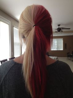 Hair Color Red Peekaboo Blondes 35 Ideas Half And Half Hair Color blondes COLOR hair Ideas Peekaboo red Two Color Hair, Hair Color Purple, Hair Dye Colors, Cool Hair Color, Green Hair, Color Red, Scene Hair Colors, Split Dyed Hair, Half Dyed Hair