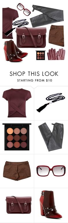 """""""autumn oxblood"""" by junemedialab ❤ liked on Polyvore featuring New Look, Elizabeth Raine, MAC Cosmetics, Lafayette 148 New York, CÉLINE, Burberry, The Cambridge Satchel Company, L.A.M.B. and Barbour"""