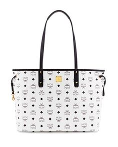 Shopper Project Visetos Reversible Tote Bag, White by MCM at Neiman Marcus.