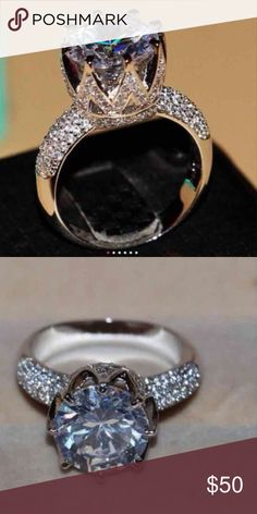(Size 8) wedding ring Womens white gold filled/925 sterling silver  White Topaz 8ct Simulated Diamond Pave Set  Handmade Crown Ring . Stamps S925 Free box. Available size5/ 6/7/8/9 Jewelry Rings