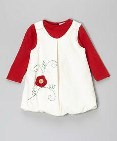 Look at this #zulilyfind! White & Red Flower Corduroy Jumper & Top - Infant & Toddler #zulilyfinds