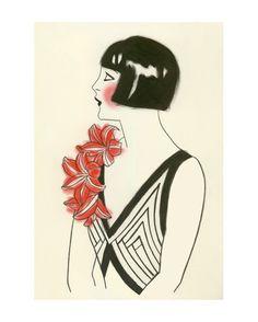 Fashion illustration Art Deco Art  4 for 3 SALE by matouenpeluche, $17.00