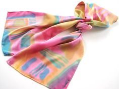 Multi Colored Spring Abstract Hand Painted Silk Scarf. $55.00, via Etsy.