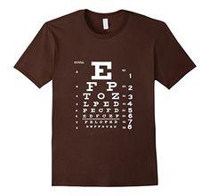 Men's Eye Chart T Shirt, Optometrist Shirt, Snellen Chart Shirt 3XL Brown