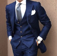 Men's Navy British Fashion Suits Formal Groom Prom 3 pieces Tuxedos All Size Sharp Dressed Man, Well Dressed Men, Style Gentleman, Moda Formal, Checked Suit, Formal Suits, Suits For Prom, Mens Prom Suits, Wedding Suits For Men