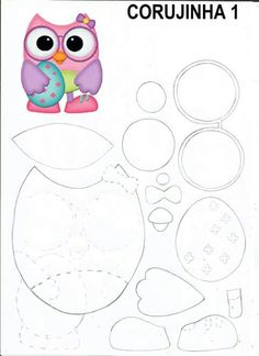 Coruja,appliqué or paper piecing Owl Patterns, Paper Piecing Patterns, Pattern Paper, Travel Scrapbook, Scrapbook Paper, Owl Crafts, Paper Crafts, Bird Template, Felt Templates
