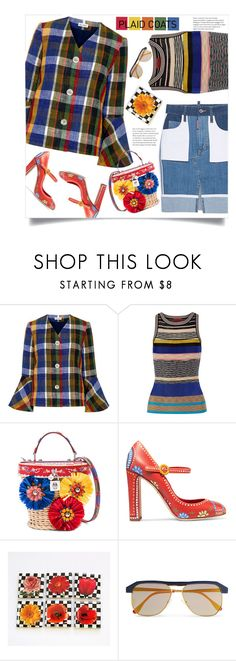 """""""Playful Plaid"""" by mmk2k ❤ liked on Polyvore featuring SUNO New York, Missoni, Dolce&Gabbana, Sheriff&Cherry, plaid, coats and plaidcoats"""