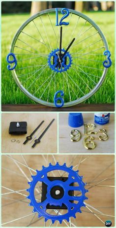 DIY Ways to Recycle Bike Rims Ideas & Instructions: Re-purpose Bike Wheels and Rims into Home and Garden Decoration, Wreath, Garden Art, Trellis, Chandelier Bicycle Crafts, Bike Craft, Bicycle Decor, Bicycle Clock, Bicycle Rims, Bicycle Art, Bike Wheels, Bicycle Wheel, Bicycle Design