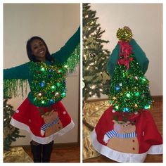 Karneval Ugly Christmas tree sweater with tree skirt Discovering Cheap Marriage ceremony Attire Not Homemade Ugly Christmas Sweater, Christmas Tree Ugly Sweater, Diy Ugly Christmas Skirt, Diy Christmas, Tacky Christmas Outfit, Christmas Clothes, Office Christmas, Holiday Fun, Zoella