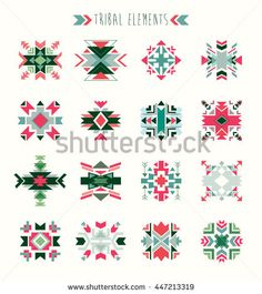Tribal elements ( vector design) A collection of geometric ethnic elements. Spiritual Symbols, Vector Design, Ethnic, Royalty Free Stock Photos, Collection
