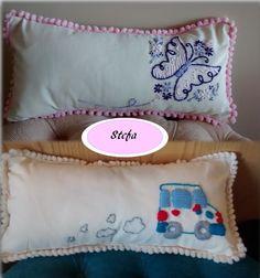 Almohadones bordados a mano diseños infantiles