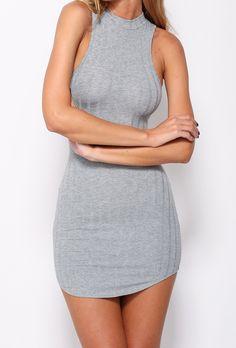 Halter Open Back Bodycon Grey Dress