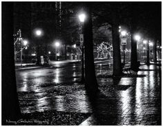 Black and white version of Rainy Night on High Street Olde Towne by NancyGoldsteinPhoto, $30.00 Rainy Night, Portsmouth, Old Town, New Work, Black And White, Street, Photography, Old City, Blanco Y Negro