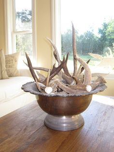 Centerpiece - Vintage silver punch bowl with Deer Sheds   ANTIQUECHASE.blogspot.com