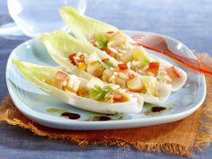 Salade de riz à l'ananas, surimi et endives