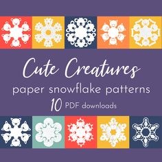 10 cute create print and cut downloads. #SnowflakeArt #PaperSnowflake #ArtAtHome #Homeschool #DistanceLearning Paper Snowflake Patterns, Snowflakes Art, Origami Folding, Cute Creatures, Hole Punch, Print And Cut, Pattern Art, Create, Unicorn Cat