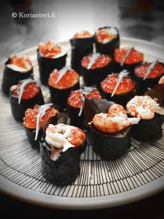 Beautiful battleship sushi also know as Gunkan.