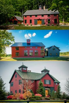 Red Barn Homes from YBH. No one does barn homes like we do Barn Homes! Visit to see more special house plans. #postandbeamhomes