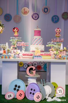 """Love this """"Spool of Thread"""" cake ... & the button decorations made from paper plates!!!"""