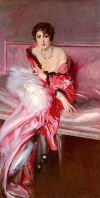 1912.Madame Juillard In Red, Oil on canvas,180x94 cm.Giovanni Boldini (1842-1931)