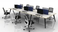 Pyramid Steel & Wood Bench Desk is a modular desking system, available with steel or wood leg options, and also in desk height and poseur height versions. Desk Height, Desks, Office Furniture, Bench, Steel, Wood, Products, Home Decor, Mesas