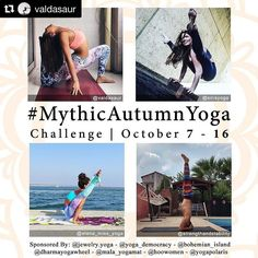 More Autumn Yoga fun!  @cmossel @oshi.k  You are officially one sleep away to a autumn party!!!  who's ready to rock and roll? - THE MYTHIC FOUR ARE BACK  And we are thrilled to anounce the #MythicAutumnYoga challenge same concept same hosts different poses- from the 7th to the 16th of October. Are you ready to have a #MythicAutumnYoga?  We have teamed up again and we will bring you ten brand new myths. In this ten days challenge 7-16th we will have fun while discovering more about asanas…