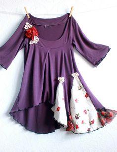 Deep Purple Boho Shirt Women's Tunic Hippie Clothing Gypsy Clothes Stretchy Knit Top Eco Fashion Romantic Blouse Small 'DORY'. $58.00, via Etsy.