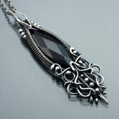 Black Onyx Necklace and Fine Silver Pendant Mini by sarahndippity