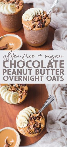 Make breakfast better with this Chocolate Peanut Butter Overnight Oats recipe! Gluten-free, vegan, and made in just 5 minutes, this is an easy make-ahead breakfast you'll make all the time. #chocolate #peanutbutter #overnightoats #oatmeal