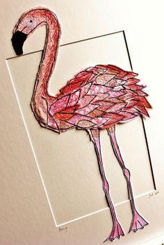 flamingo, textile art by sarah dodd (lotus blossom)