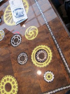 Inlaid bike gears in countertop (this is in Dallas!)