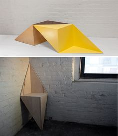 """""""When upright in a corner, LEAN is a chair that gains structural support from its adjacent walls. Set on its side, it becomes a coffee table with negative spaces for books and magazines. Fabricated in plywood, LEAN comes in a two-tone color which reinforces its geometric shape. In metal, the thin sheets combine durability with elegance."""""""