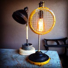 Joy price studio joypricestudio on pinterest table lamps crafted of industrial and vintage auto headlamp parts sold in san diego mozeypictures Images